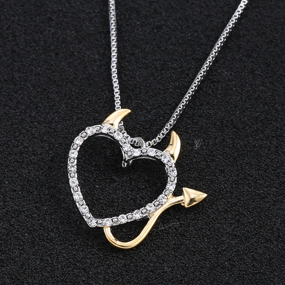 Hot gold and silver plated love heart accent devil heart pendant hot gold and silver plated love heart accent devil heart pendant necklaces jewelry for women aloadofball Choice Image