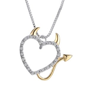 Terreau kathy gold hollow heart shaped pendant necklace women hot gold and silver plated love heart accent devil heart pendant necklaces jewelry for women mozeypictures Images