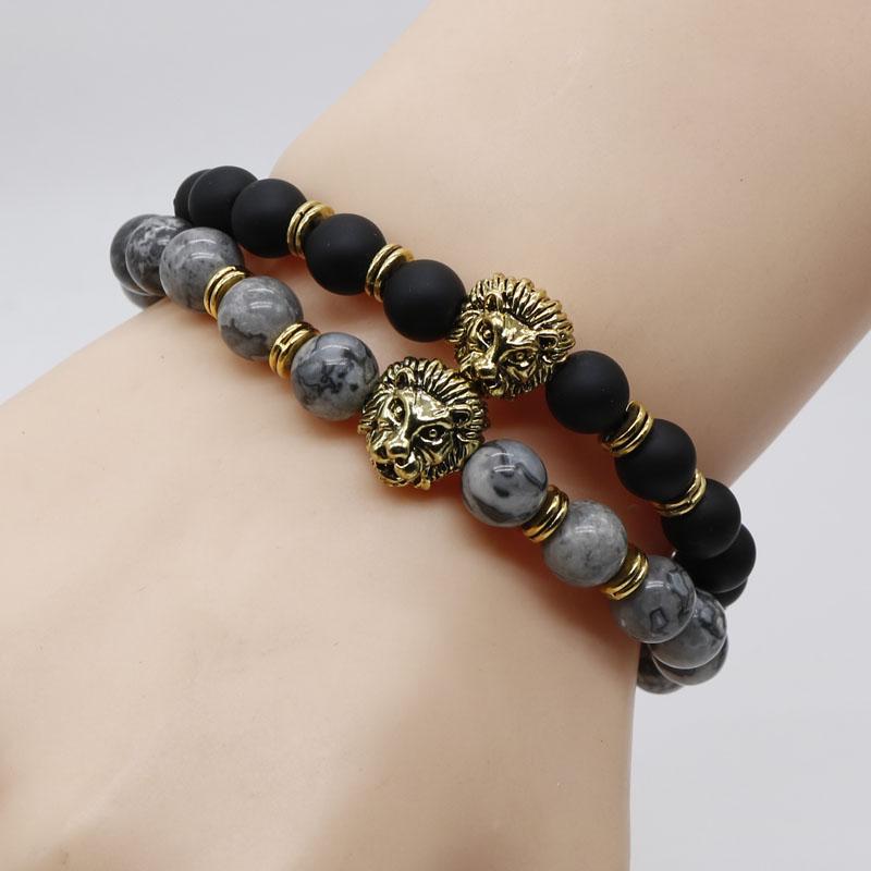 Antique Gold Color Lion Head Bracelet Black Lava Stone Beaded Bracelets For Men