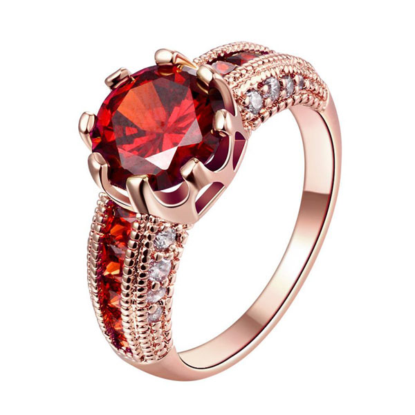 Engagement Rings Cubic Zirconia Rings Luxurious Red Jewelry