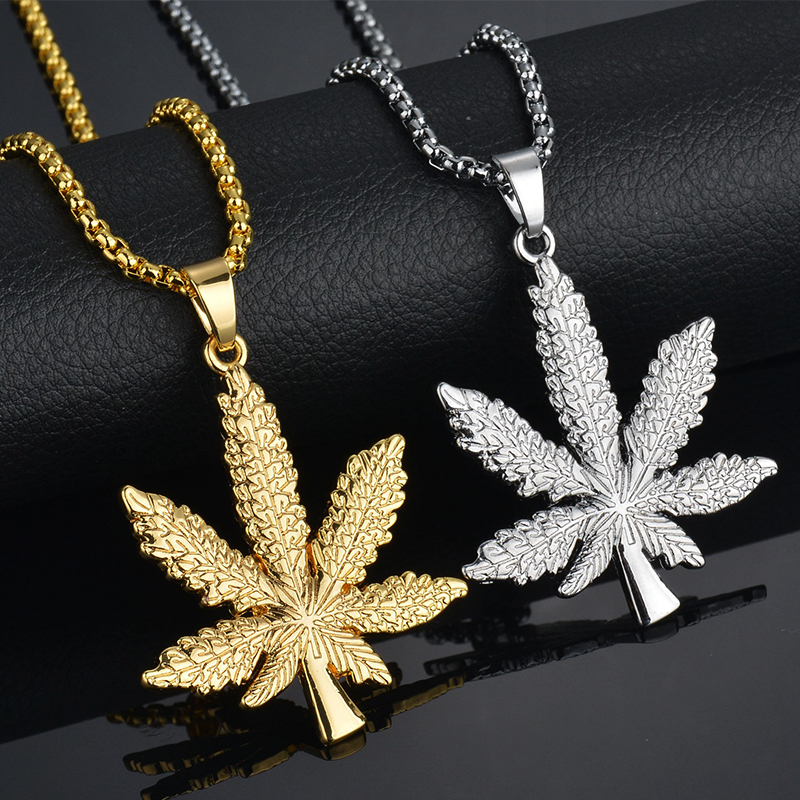 2017 new iced out weed necklacependant silver plated maple leaf pendant aloadofball Choice Image
