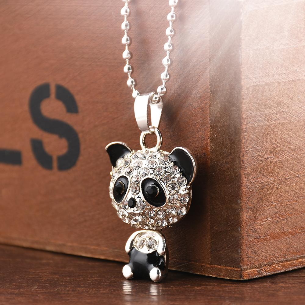 Rhinestone Panda Pendant Necklace Crystal Unisex
