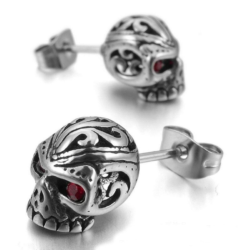 2f6af7f4e 2017 New Cool Men Punk Rock Red Eyes Skeleton Skull Stainless Steel. Divastri  Monster Skull Single Stud Stainless Steel Crystal Alloy Earring