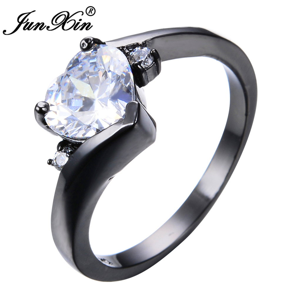 Junxin Heart Ring Fashion Style Black Gold Filled Jewelry