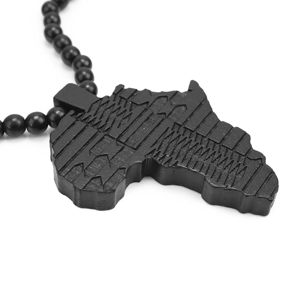 Wooden africa map pendant beads link chain necklace aloadofball Choice Image