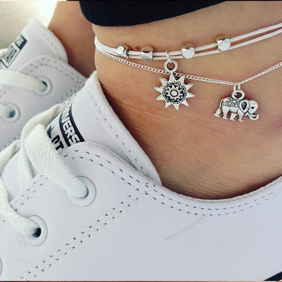 chain bracelet shop alloy charm design with gold silver jewelry feet shape foot women simple bracelets ankle goldsilver girl charms anklet