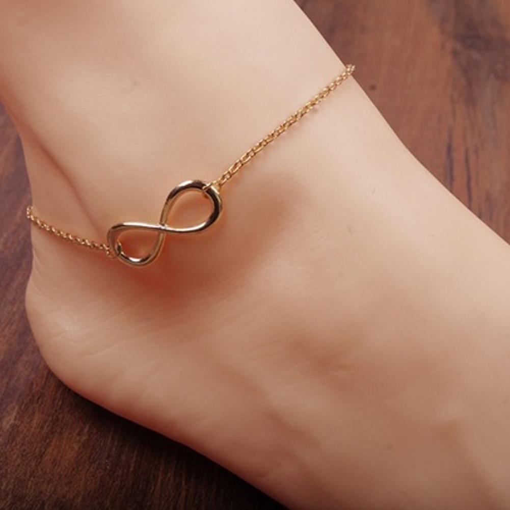 gold silver alloy 8 shape ankle chain anklet bracelet. Black Bedroom Furniture Sets. Home Design Ideas