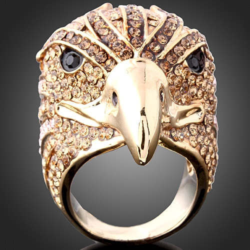 Gold Color Crystal Big Eagle Party Ring