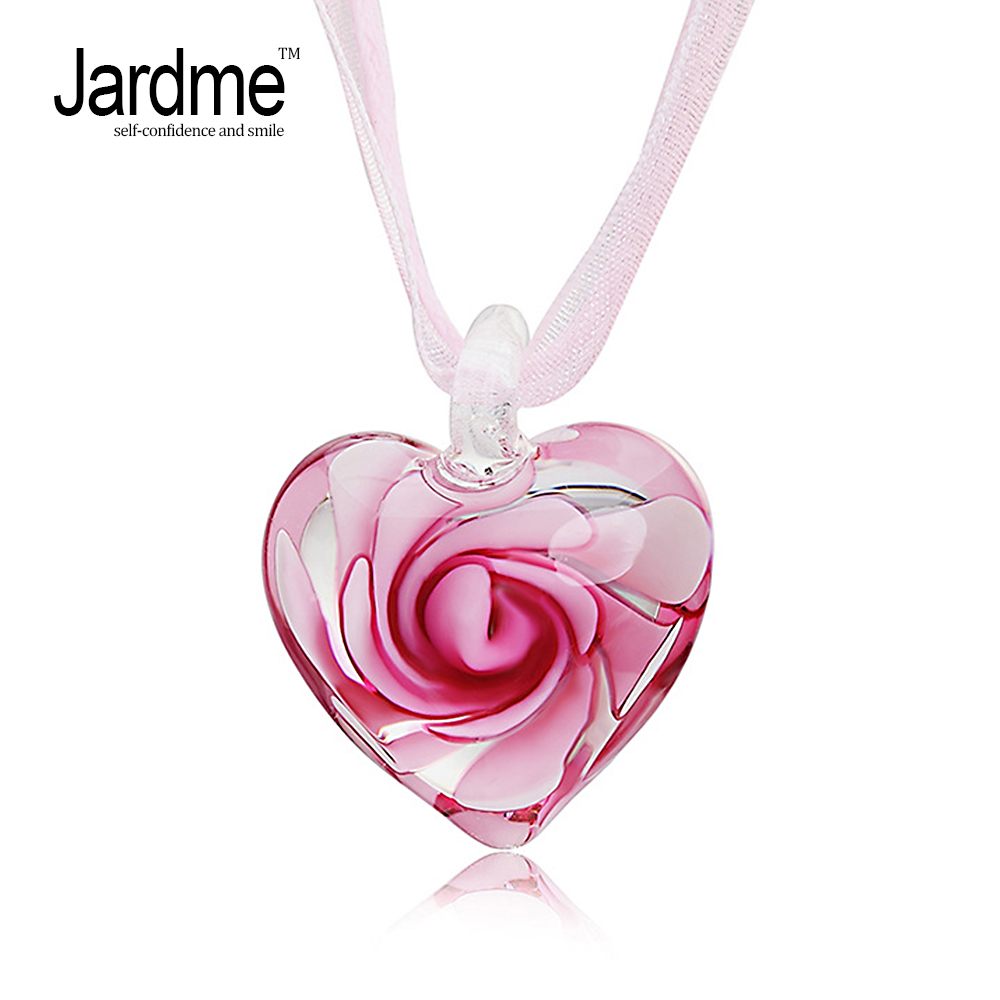 Heart Glass Inspiration Women Silk Ribbon Chain Necklace