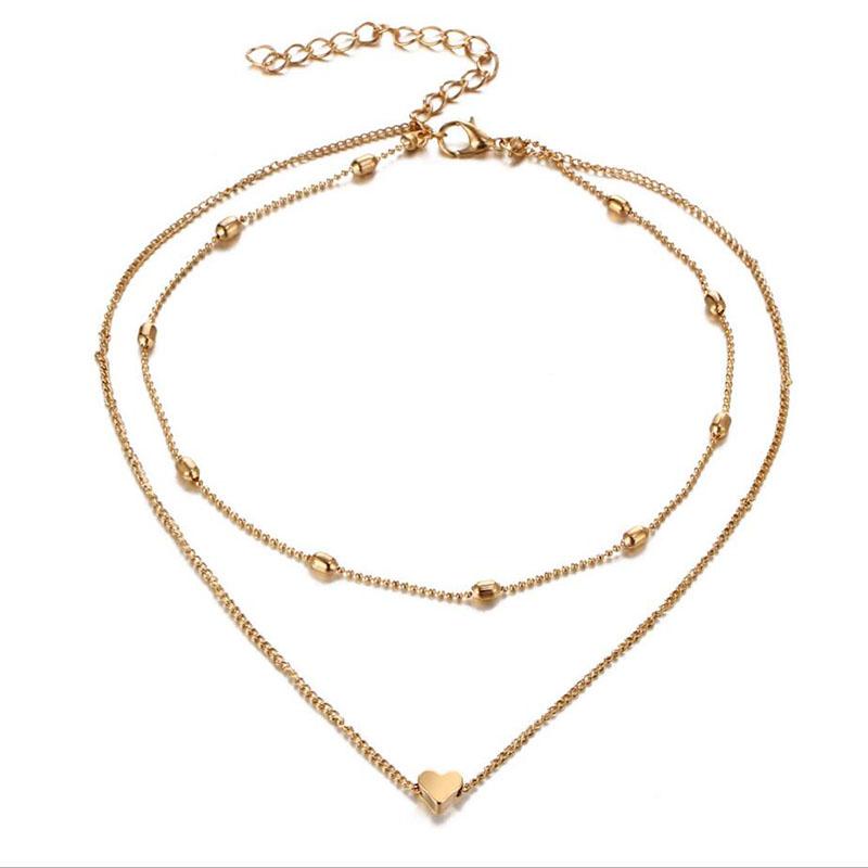 Double horn pendant heart necklace gold aloadofball Gallery